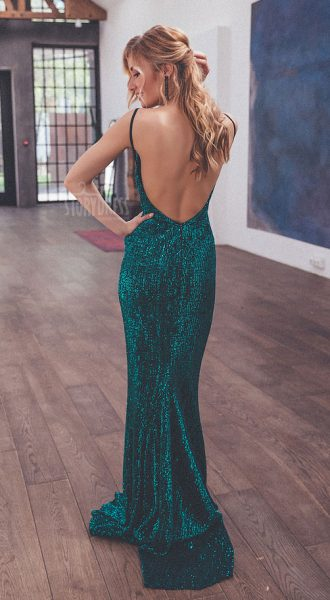 Зелёное платье с открытой спиной Emerald Passion