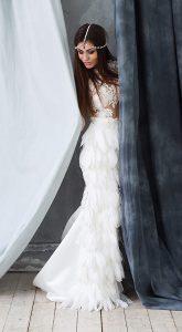 Вечернее платье с перьями Matilda White напрокат