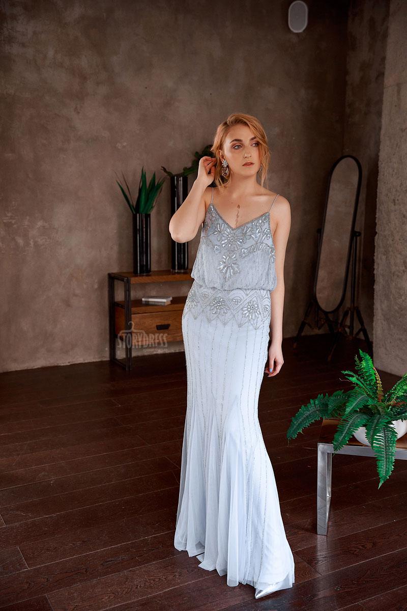 Вечернее платье в пол нежного жемчужного оттенка