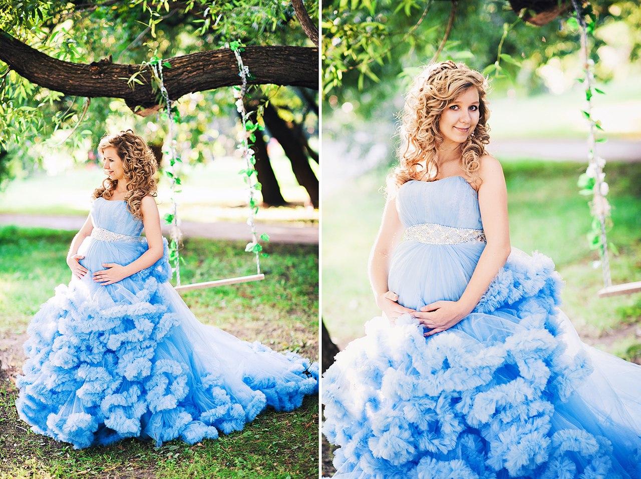 Фотосессия беременной на качелях