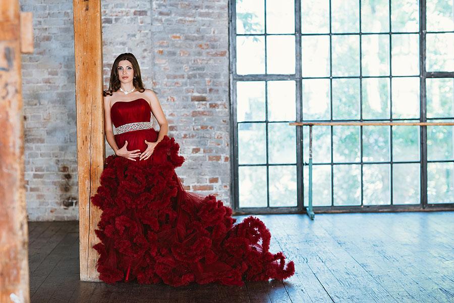 Бордовое платье для беременных