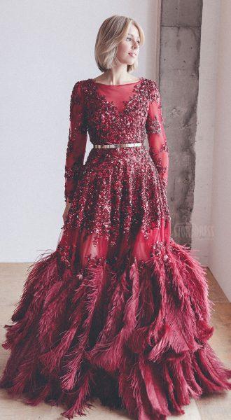 Пышное платье со страусиными перьями Grace Kelly Bordeaux