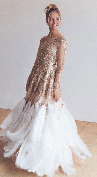 Платье с перьями страуса Grace Kelly Gold длина в пол