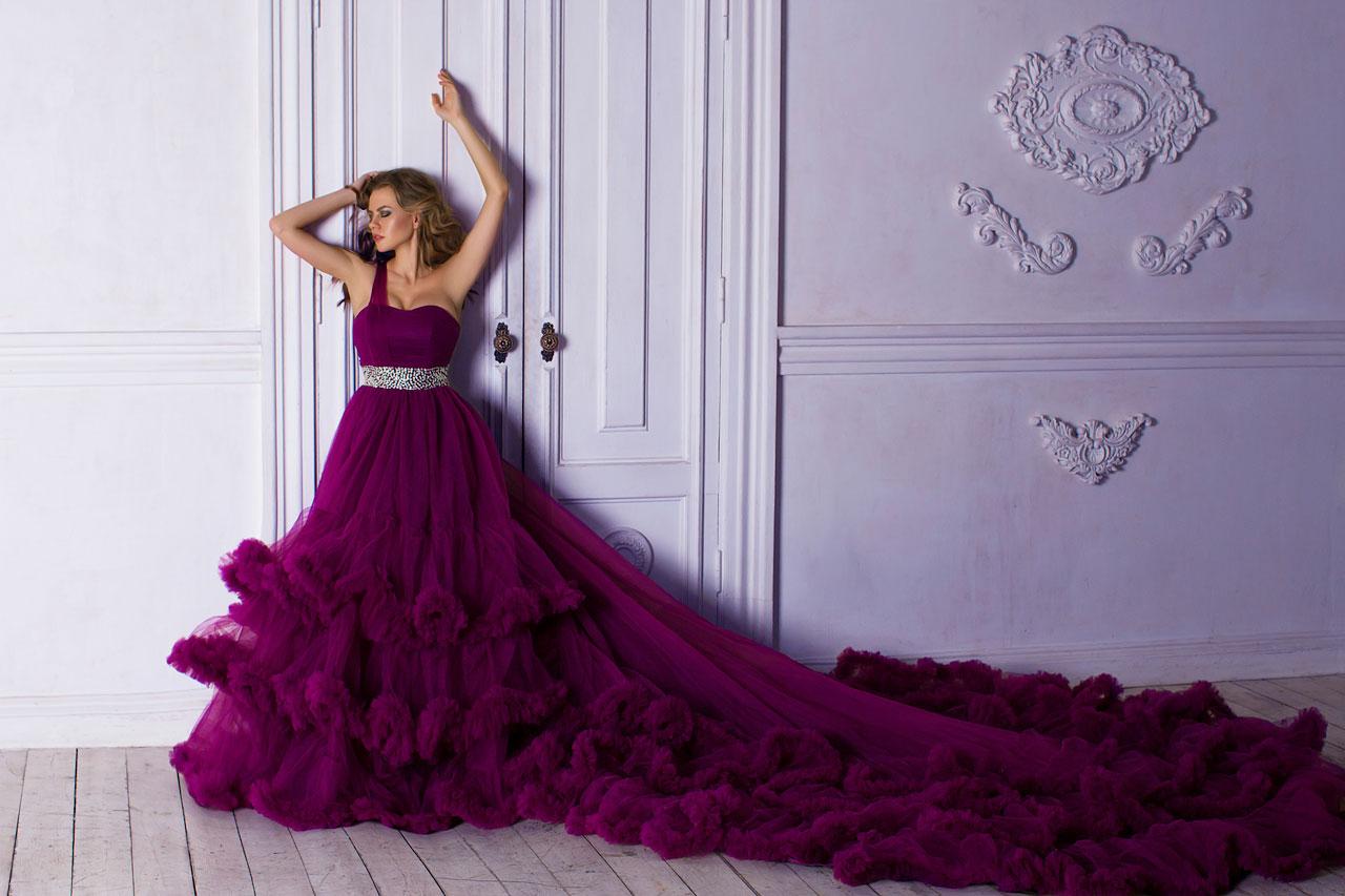 Пышное платье со шлейфом 3 метра