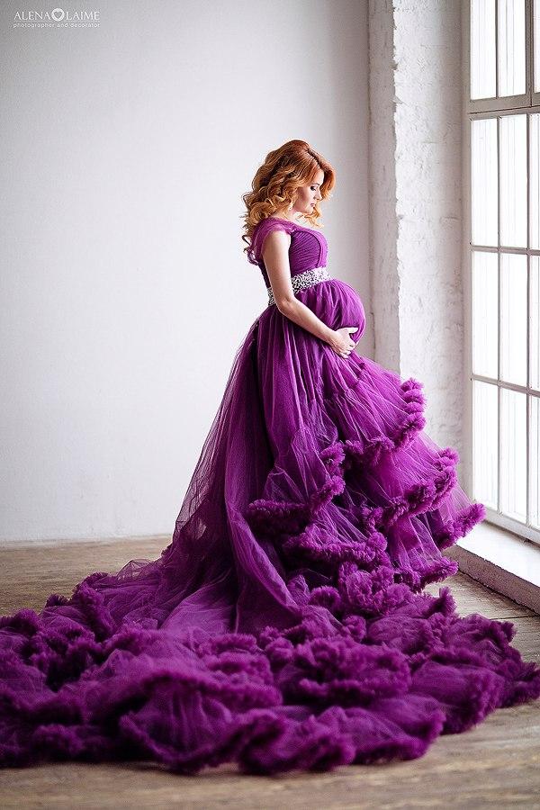 Фиолетовое платье для беременных