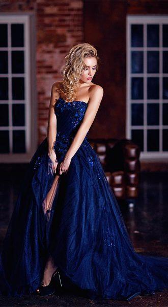 Тёмно-синее платье для фотосессии