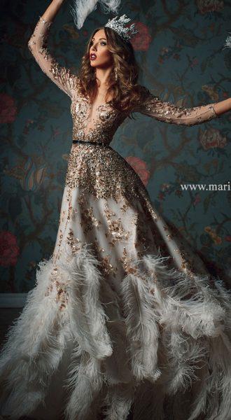 Платье с перьями страуса Grace Kelly Gold