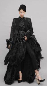 Черное платье с перьями Grace Kelly Black в аренду