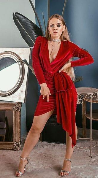 Красное платье с ассиметричной юбкой платье Fiesta Red