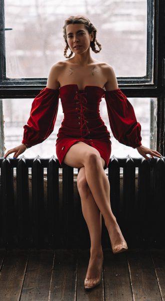 Красное платье со шнуровкой Marta Red