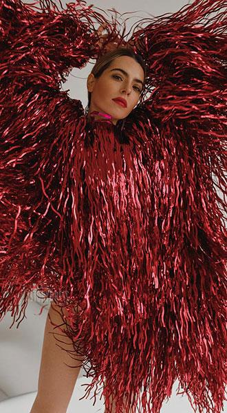 Красная виниловая шуба Vinyl Red Coat