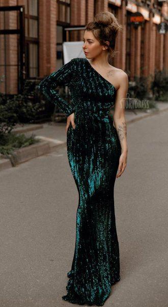 Зеленое платье с асимметричным топом Kylie Green