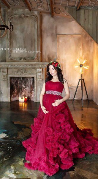 Красное платье для фото беременности прокат Москва