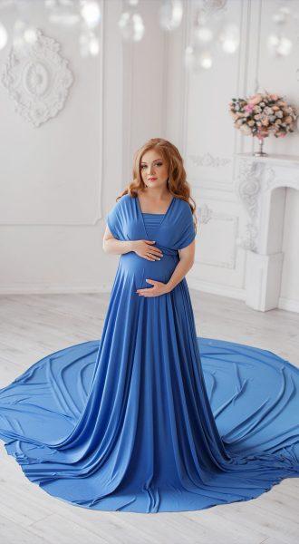 Синее платье трансформер с длинным шлейфом