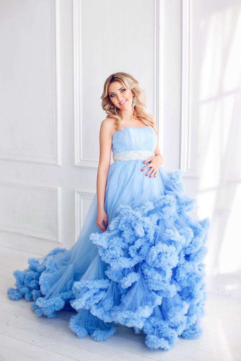 Фотосессия в голубом платье