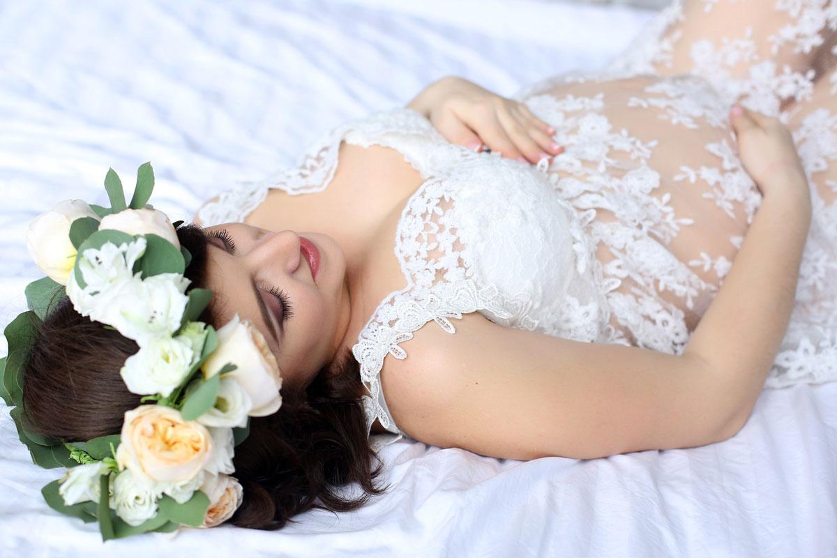 Белое платье для фото беременности