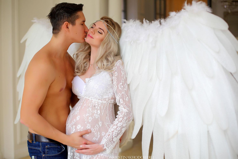 Прозрачное платье и белые крылья для фотосессии