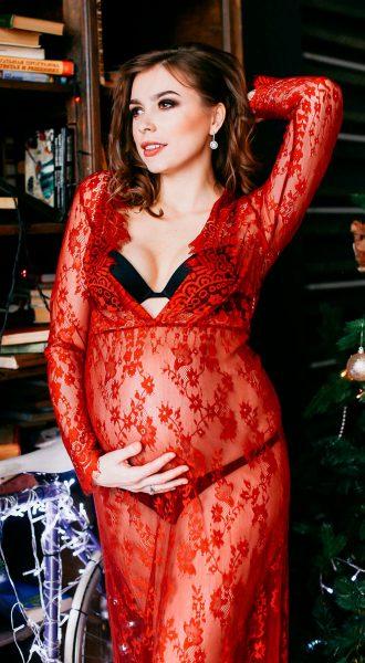 Кружевной пеньюар для фото беременности Diana Bordeaux