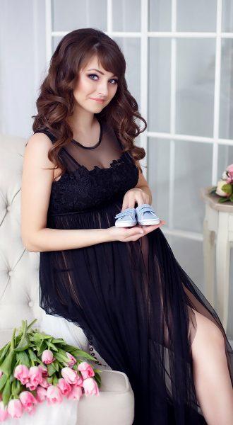 Черное платье для фотографирования беременной