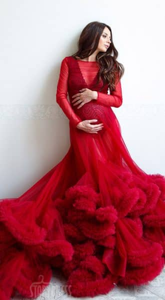 Прозрачное платье-облако для беременных Phantom Bordeaux Cloud