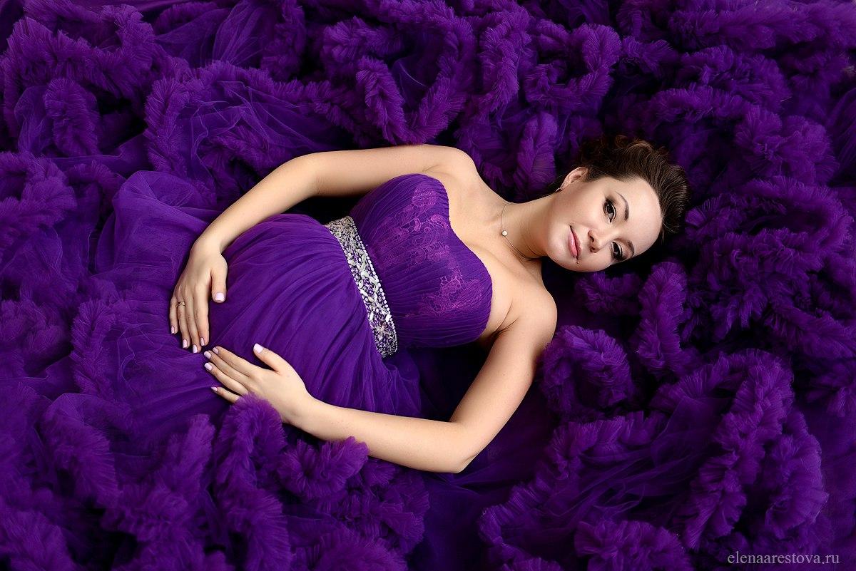 Баклажановое платье-облако в аренду