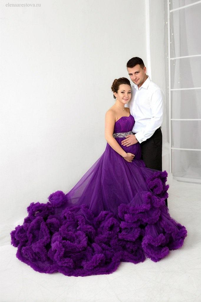 Баклажановое платье для фотосессии с мужем