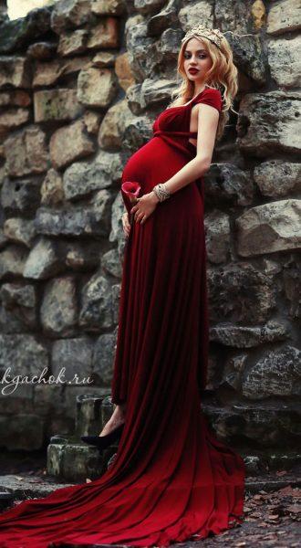 Бордовый трансформер для беременных Burgundy Transformer Dress
