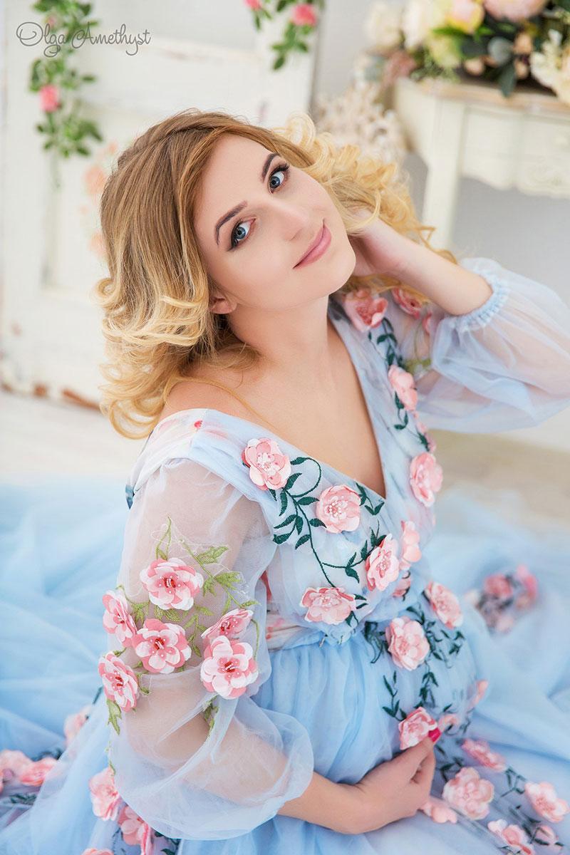 Платье с цветами для беременной