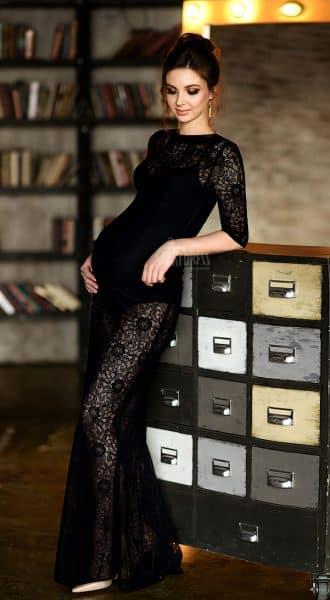 Черный кружевной пеньюар для беременных Margot