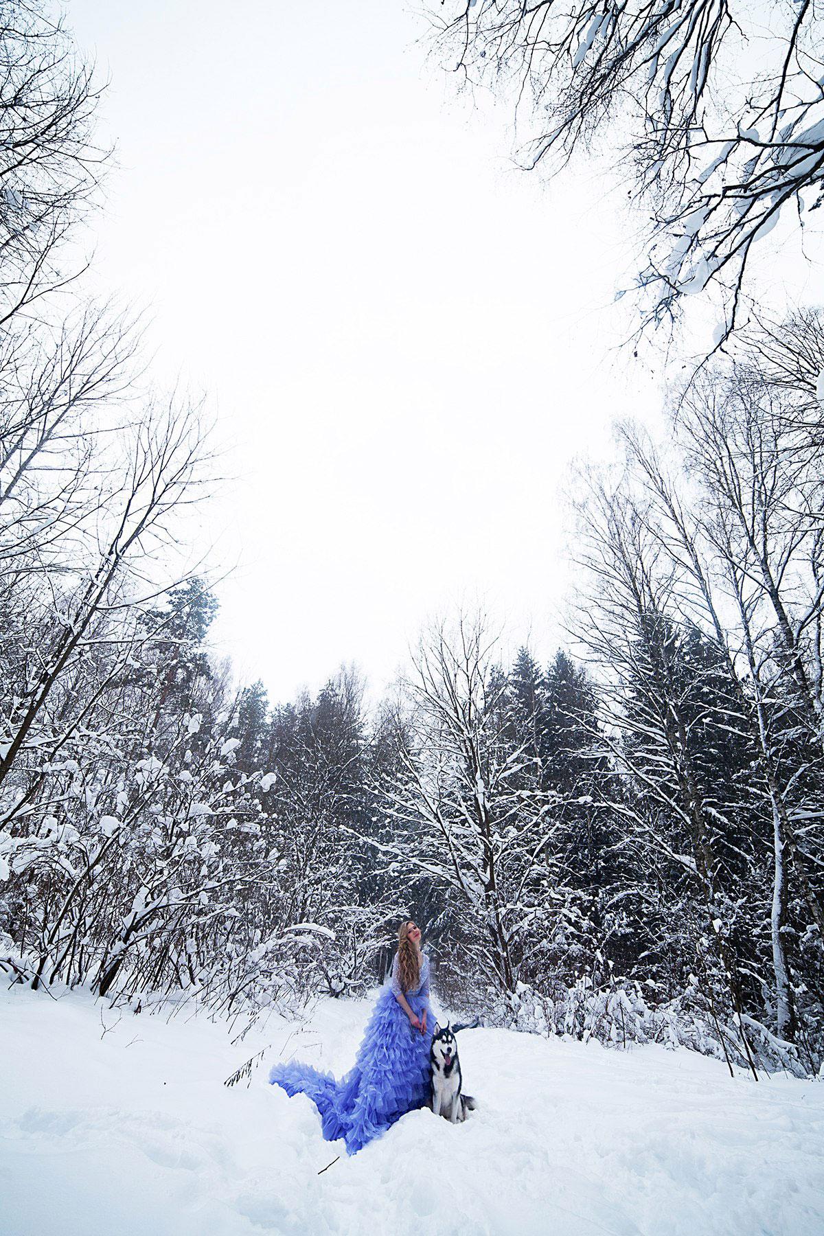 Необычная фотосессия с хаски в зимнем лесу