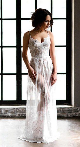 Прозрачное пеньюарное платье Lolita White