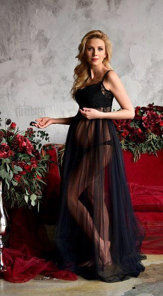 Черное прозрачное платье для беременных