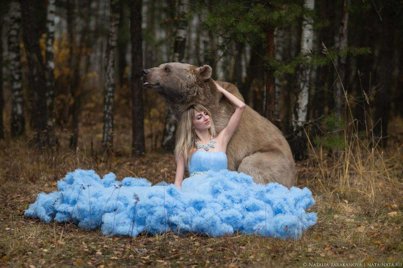 Фотосессия в платье с мишкой