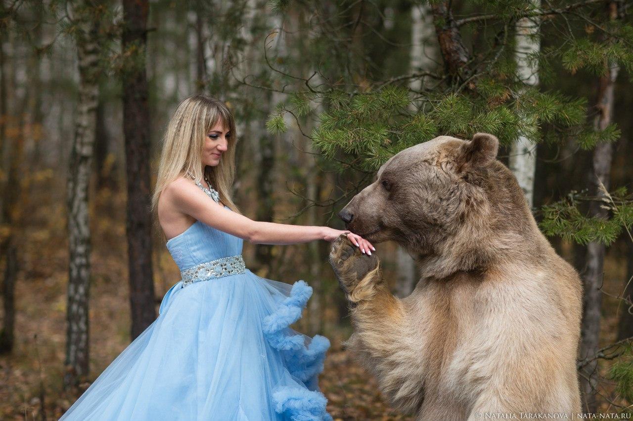 Принцесса в компании бурого медведя