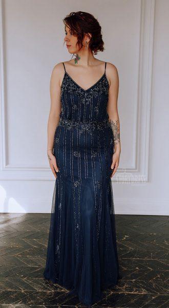 Синее платье на тонких бретелях Dana Blue
