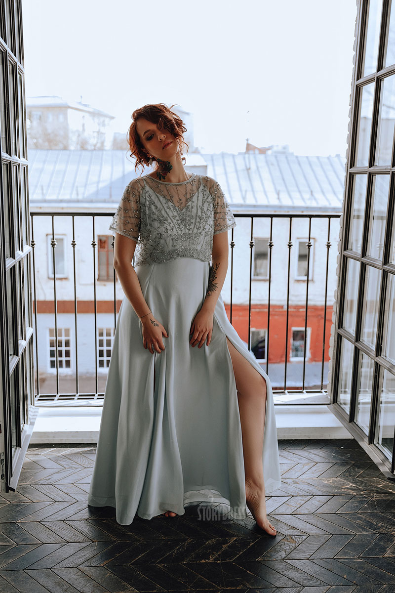 Вечернее платье для полных расшитое бисером
