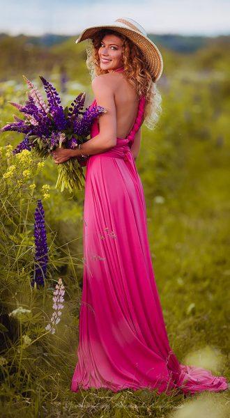 Платье-трансформер модного малинового цвета Raspberries Transformer