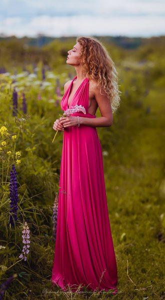 Платье трансформер в пол с глубоким декольте