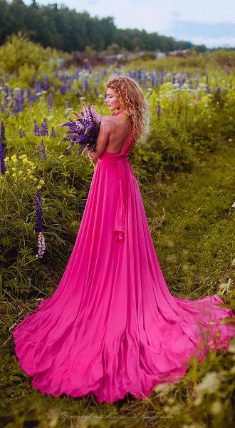 Ярко-малиновое платье-трансформер