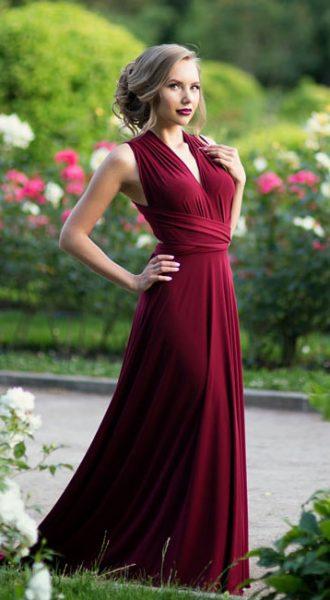Платье Бордовый Трансформер Burgundy Transformer Dress