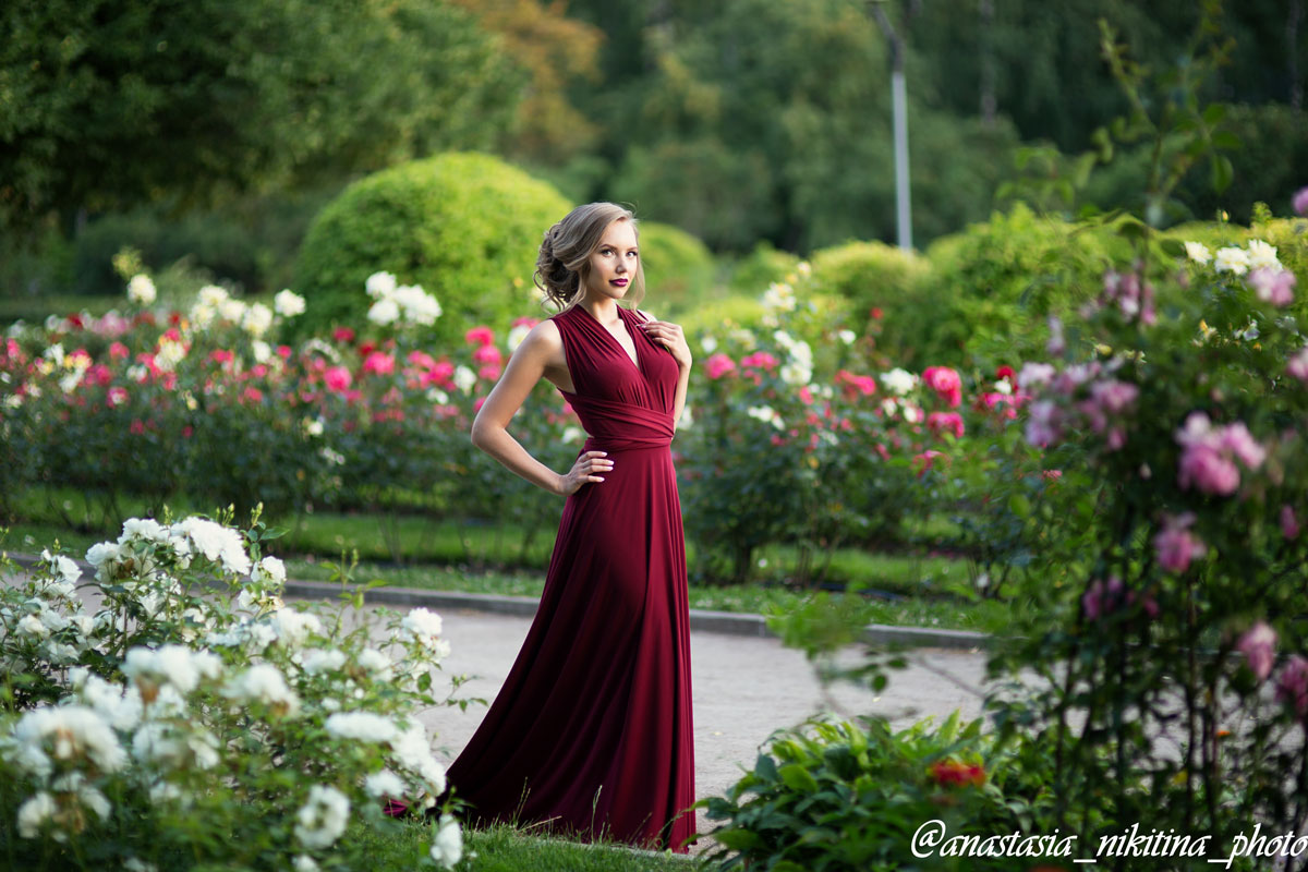 Бордовое платье-трансформер макси