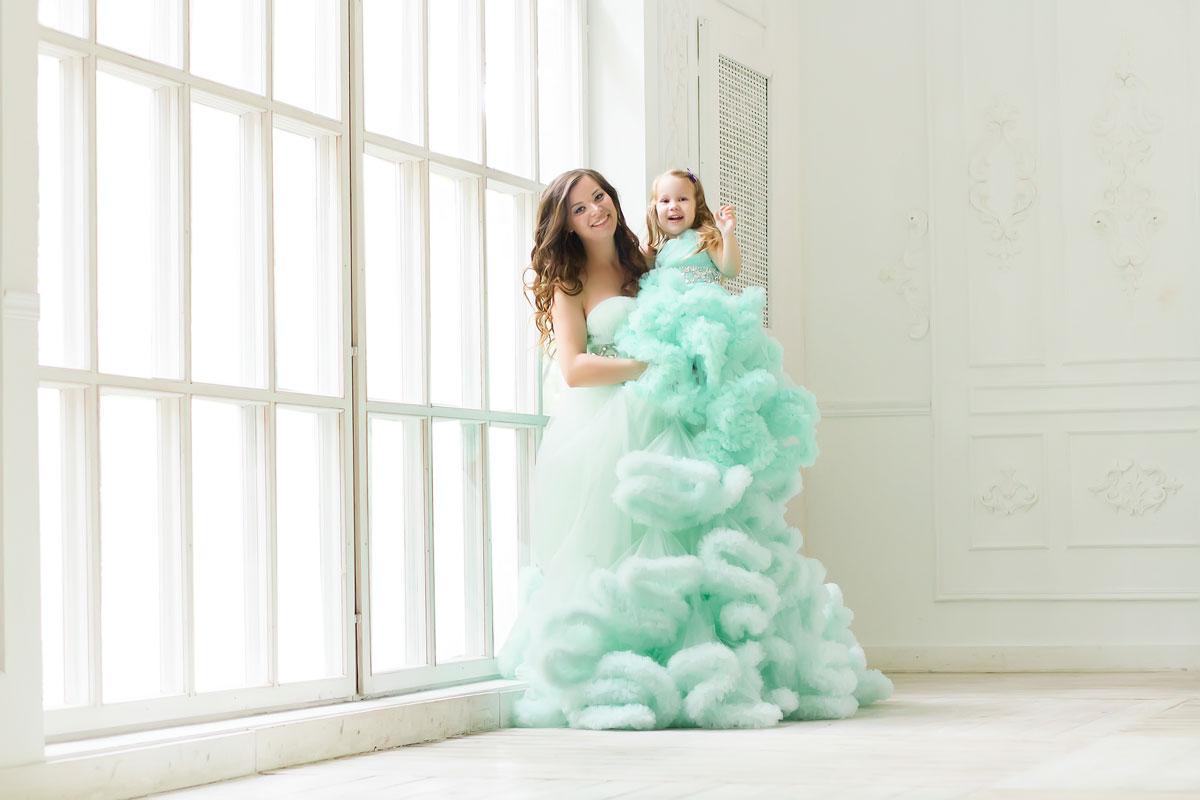Комплект платьев мама-дочка оттенка тиффани