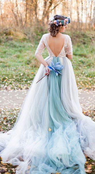 Фотосессия невесты в осеннем парке