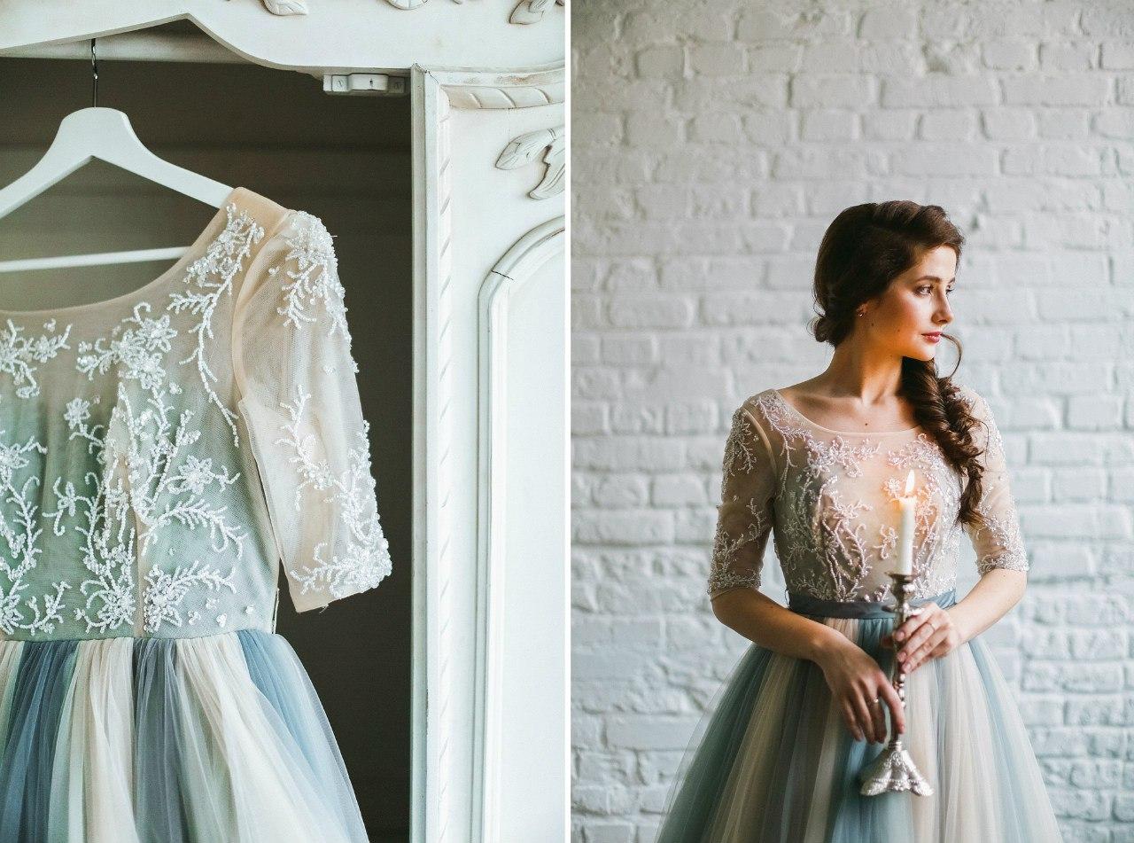 Полупрозрачное бело-голубое платье напрокат