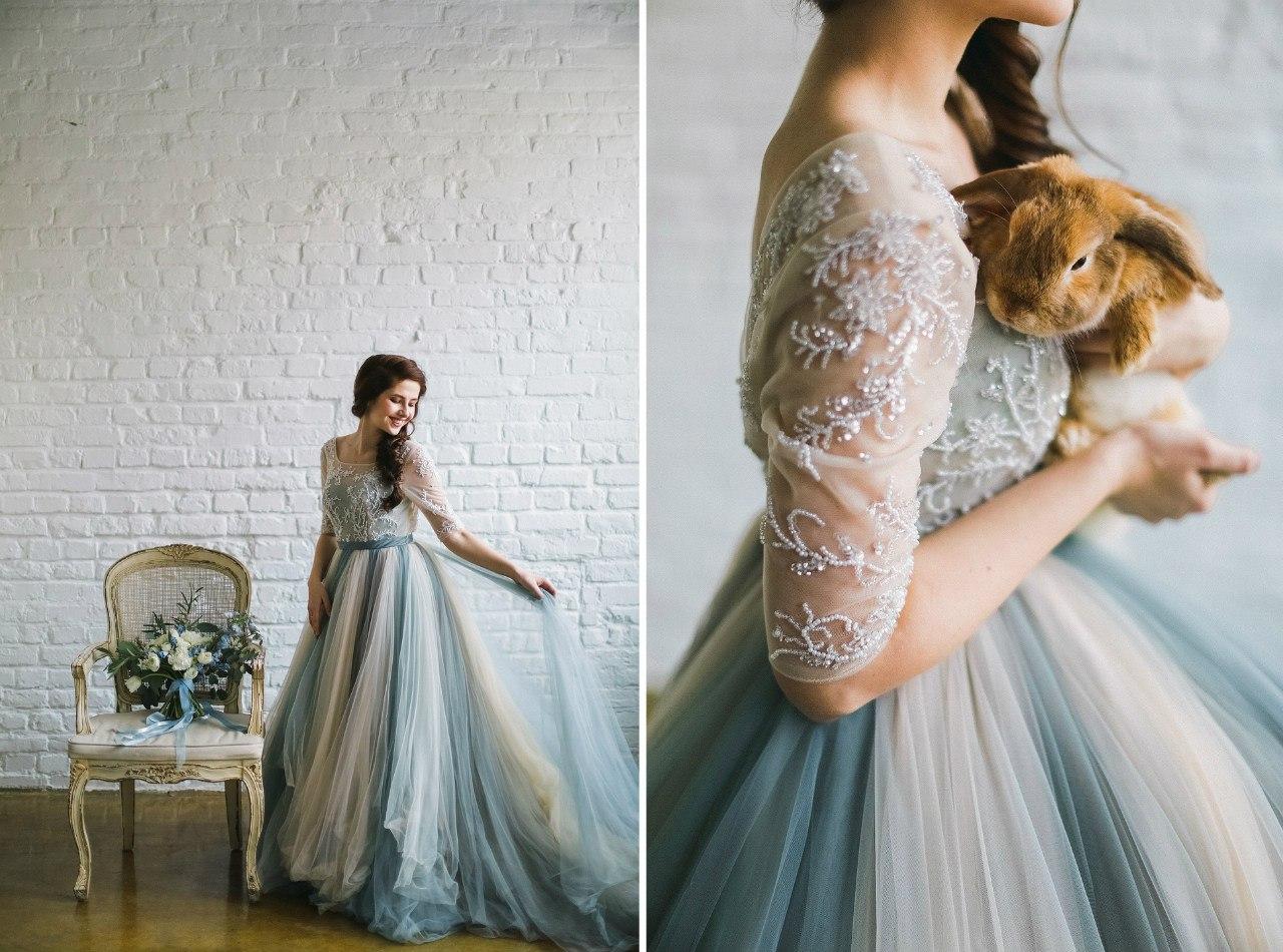 Сказочная съемка с кроликом и в платье холодных цветов