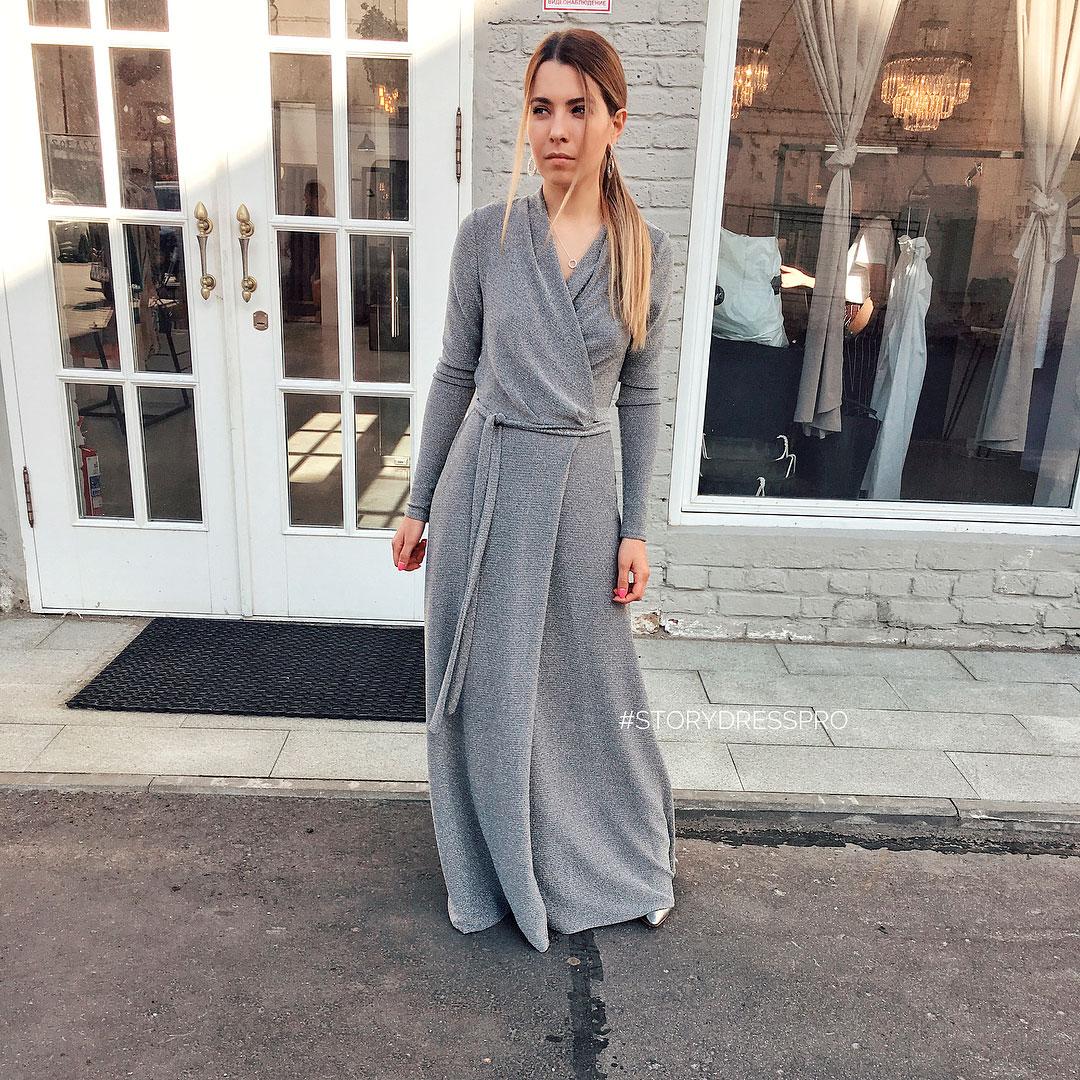 Серебряное платье-халат