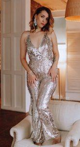 Комбинезон с пайетками Silver Sequins Jumpsuit