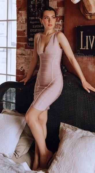 Сексуальное обтягивающее платье Smashing Hearts Nude