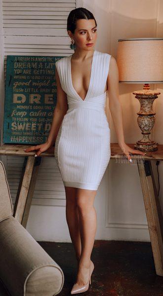 Короткое обтягивающее платье Smashing Hearts White