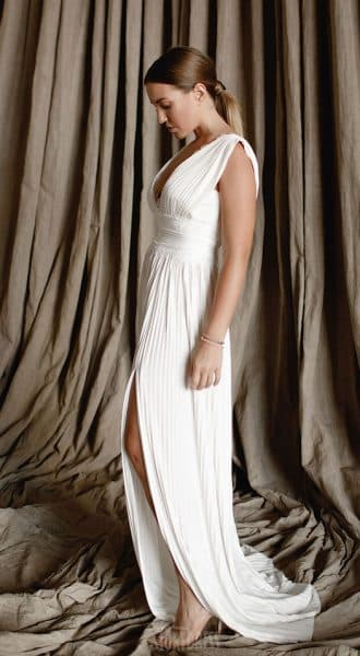 Плиссированное платье Tiara Dress White
